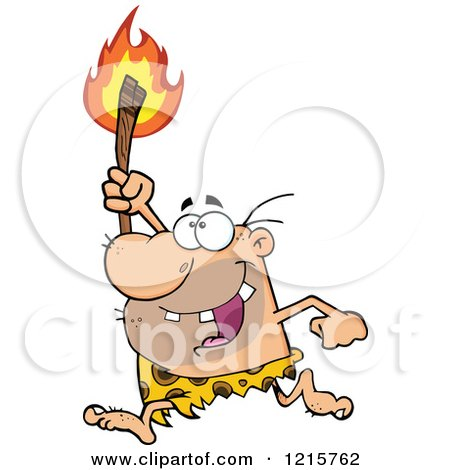 Clipart of a Caveman Running with a Torch - Royalty Free Vector Illustration by Hit Toon