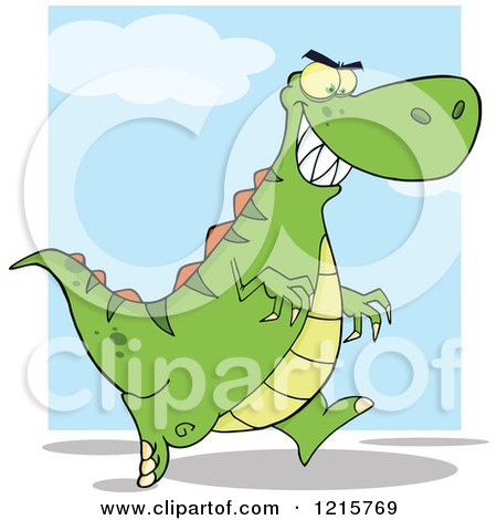 Clipart of a Running Green Dinosaur over Blue and White - Royalty Free Vector Illustration by Hit Toon