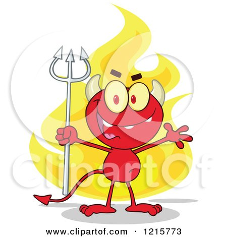 Clipart of a Red Devil Waving and Holding a Pitchfork over Flames - Royalty Free Vector Illustration by Hit Toon