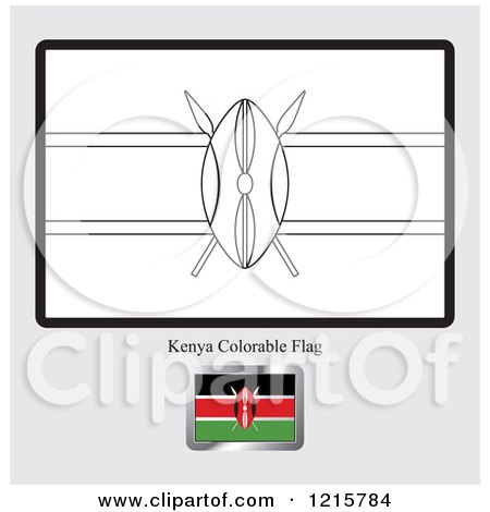 Clipart Of A Coloring Page And Sample For Kenya Flag