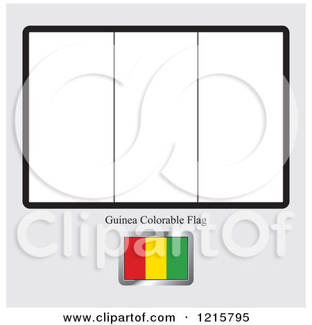 Clipart of a Coloring Page and Sample for a Guinea Flag - Royalty Free Vector Illustration by Lal Perera