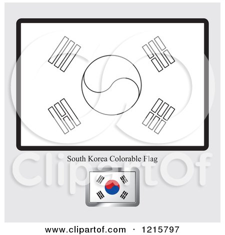 Coloring Page And Sample For A South Korea Flag