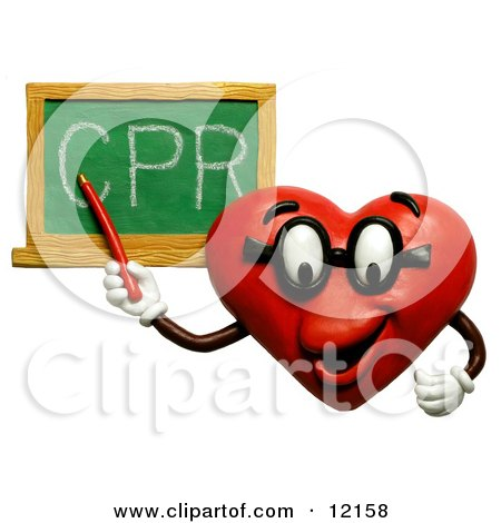 Clay Sculpture Clipart Heart Teacher Discussing CPR - Royalty Free 3d Illustration  by Amy Vangsgard