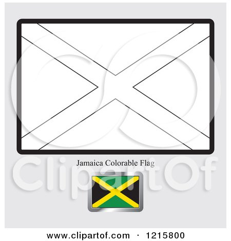 clipart of a coloring page and sample for a jamaica flag royalty free vector illustration by lal perera