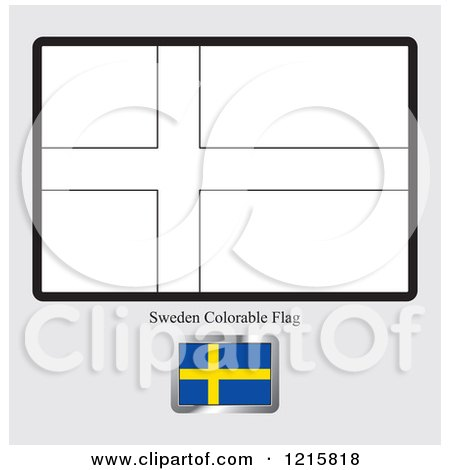 Coloring Page And Sample For A Sweden Flag