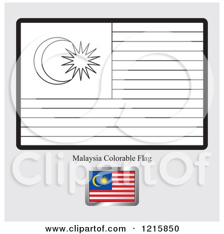 clipart of a coloring page and sample for a malaysia flag royalty free vector illustration by lal perera