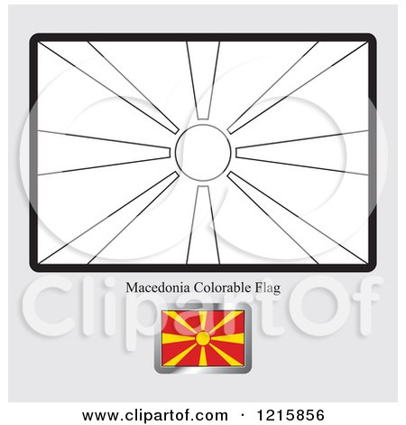 Clipart of a Coloring Page and Sample for a Macedonia Flag - Royalty Free Vector Illustration by Lal Perera
