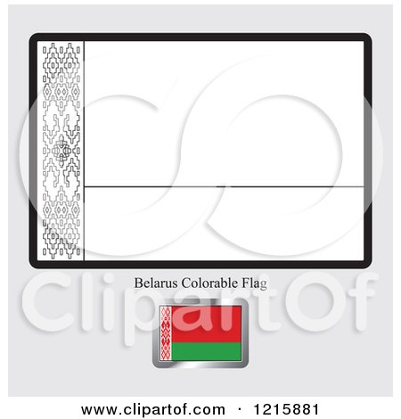 Clipart Of A Coloring Page And Sample For Belarus Flag