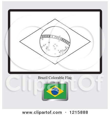 coloring page and sample for a brazil flag - Brazil Flag Coloring Page