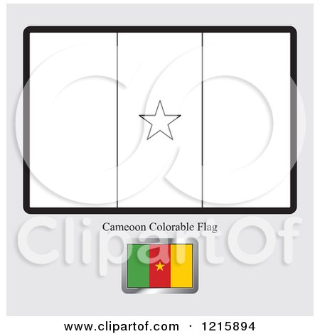 Clipart Of A Coloring Page And Sample For Cameroon Flag