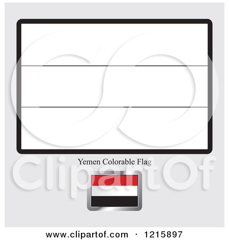 Coloring Page And Sample For A Yemen Flag