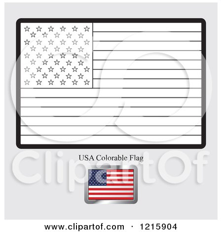 Coloring Page And Sample For A USA Flag