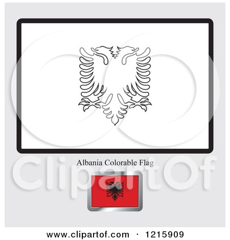 clipart of a coloring page and sample for an albania flag royalty free vector by lal perera