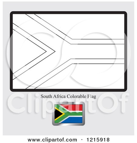 clipart of a coloring page and sample for a south africa flag royalty free vector illustration by lal perera