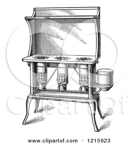 Vintage Clipart of a Retro Antique Kerosene Stove in Black and White - Royalty Free Vector Illustration by Picsburg