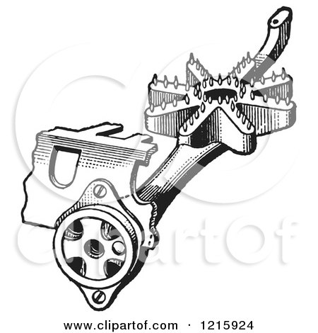 Vintage Clipart of a Retro Antique Gas Stove Pipe Mixer Device in Black and White - Royalty Free Vector Illustration by Picsburg