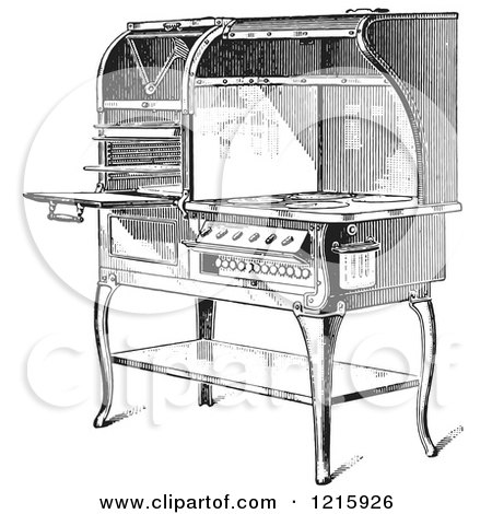Vintage Clipart of a Retro Antique Electric Stove in Black and White - Royalty Free Vector Illustration by Picsburg
