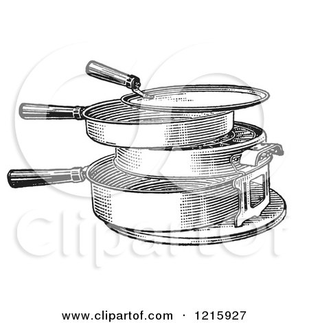 Vintage Clipart of a Retro Antique Hot Plate or Grill in Black and White - Royalty Free Vector Illustration by Picsburg