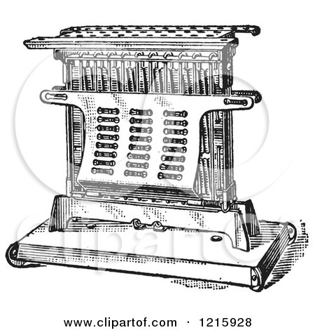 Vintage Clipart of a Retro Antique Electric Toaster in Black and White - Royalty Free Vector Illustration by Picsburg