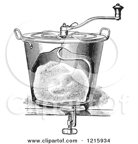Vintage Clipart of a Retro Antique Bread Mixer in Black and White - Royalty Free Vector Illustration by Picsburg