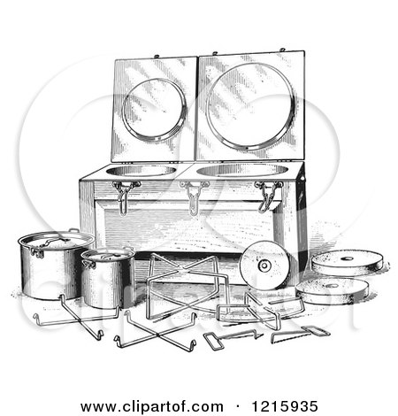 Vintage Clipart of a Retro Antique Fireless Cooker and Stones in Black and White - Royalty Free Vector Illustration by Picsburg