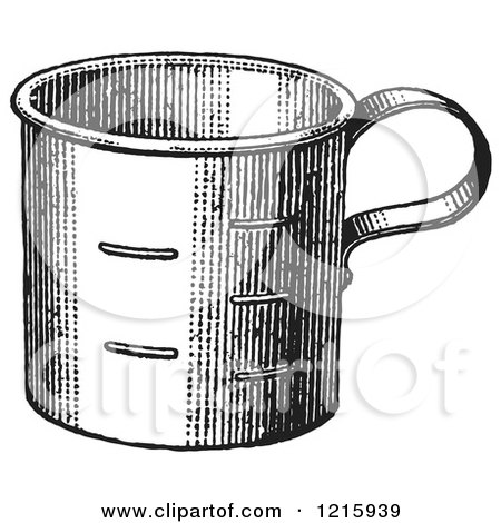Vintage Clipart of a Retro Metal Measuring Cup in Black and White - Royalty Free Vector Illustration by Picsburg