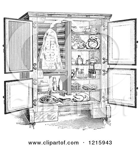 Vintage Clipart of a Retro Antique Refrigerator with an Ice Compartment and Air Flow Shown, in Black and White - Royalty Free Vector Illustration by Picsburg