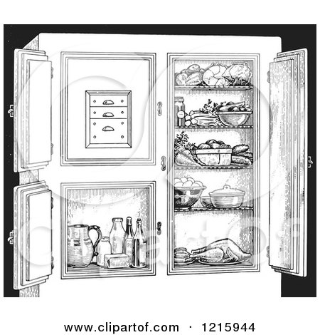 Vintage Clipart of a Retro Antique Refrigerator with Food, in Black and White - Royalty Free Vector Illustration by Picsburg