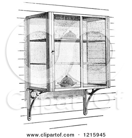 Vintage Clipart of Retro Screened in Cellar Shelves with Food in Black and White - Royalty Free Vector Illustration by Picsburg
