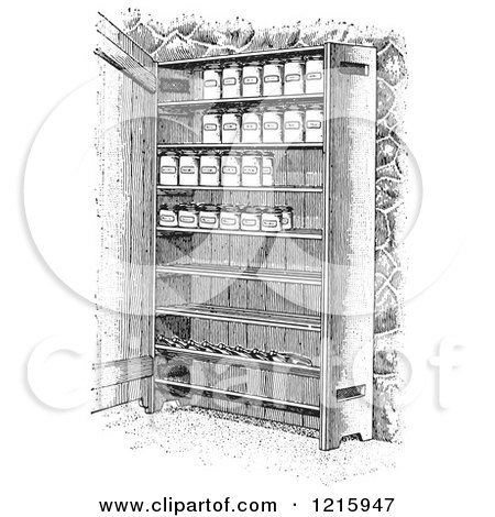 Vintage Clipart of Retro Cupboard Shelves with Canned Goods in Black and White - Royalty Free Vector Illustration by Picsburg