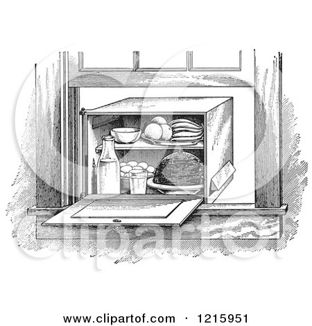 Vintage Clipart of a Retro Window Box Refrigerator in Black and White - Royalty Free Vector Illustration by Picsburg