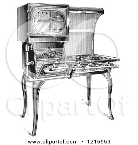Vintage Clipart of a Retro Antique Gas Stove in Black and ...