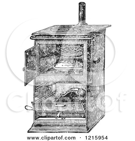 Vintage Clipart of a Retro Antique Gas Cooking Stove with Food Baking in the Oven, in Black and White - Royalty Free Vector by Picsburg