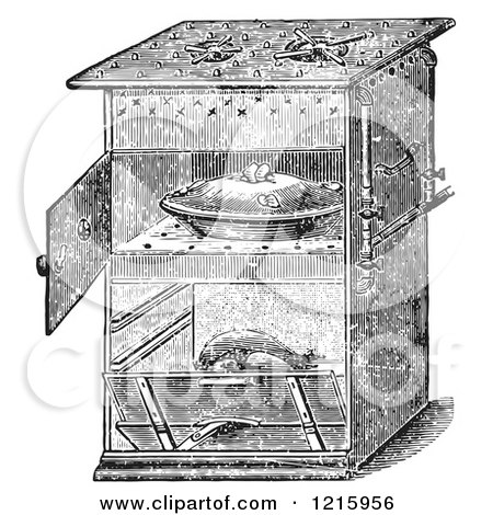 Vintage Clipart of a Retro Antique Gas Cooking Stove with Food in the Oven, in Black and White - Royalty Free Vector by Picsburg