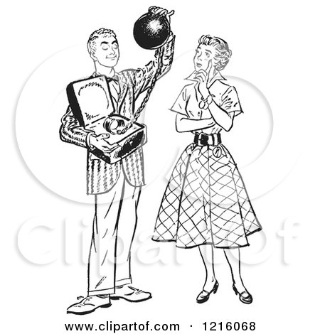 Vintage Clipart of a Retro Teenage Boy Offering His Girlfriend Commitment As a Ball and Chain in Black and White - Royalty Free Vector Illustration by Picsburg