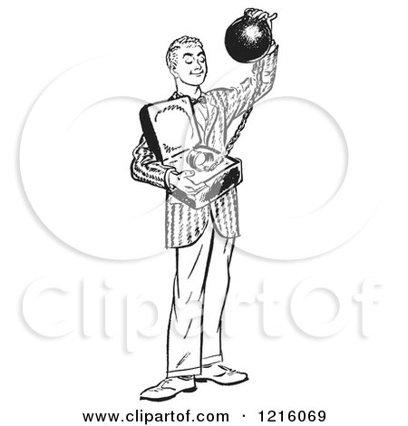 Vintage Clipart of a Retro Teenage Boy Offering Commitment As a Ball and Chain in Black and White - Royalty Free Vector Illustration by Picsburg