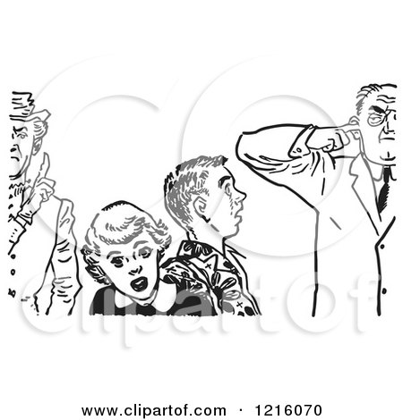 Vintage Clipart of a Retro Teenage Couple Shocked at Strict Fathers in Black and White - Royalty Free Vector Illustration by Picsburg