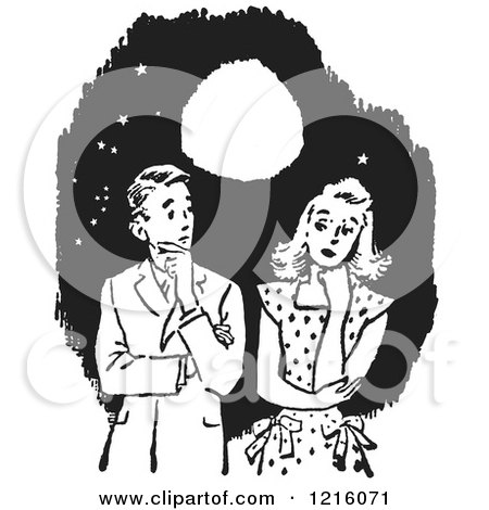 Vintage Clipart of a Retro Awkward Teenage Couple Thinking Under a Full Moon in Black and White - Royalty Free Vector Illustration by Picsburg