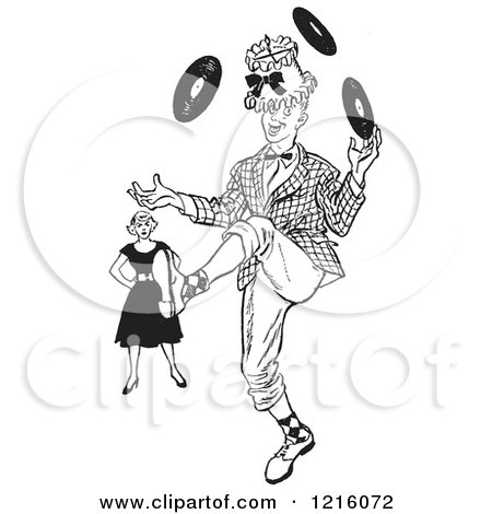 Vintage Clipart of a Retro Annoyned Woman Watching a Teenage Boy Showing off His Juggling Talents in Black and White - Royalty Free Vector Illustration by Picsburg