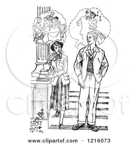 Vintage Clipart of a Retro Teenage Couple Thinking of How Their Dating Life Would Be in Black and White - Royalty Free Vector Illustration by Picsburg