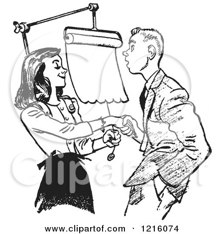 Vintage Clipart of a Retro Teenage Couple Going over Dating Rules in Black and White - Royalty Free Vector Illustration by Picsburg