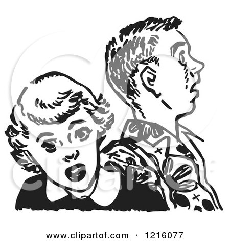 Vintage Clipart of a Retro Teenage Couple Looking Shocked in Black and White - Royalty Free Vector Illustration by Picsburg