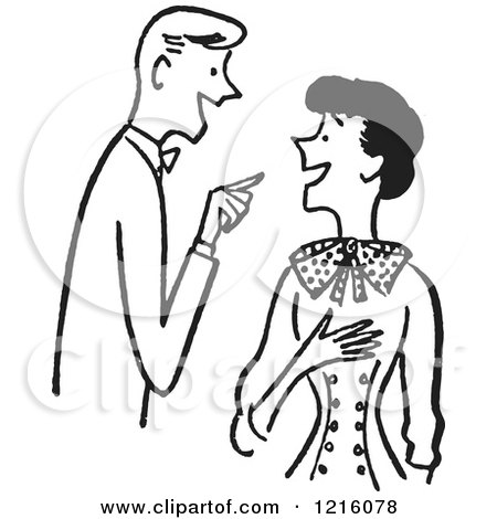 Cartoon of a Retro Talkative Couple Having a Conversation, in Black and White - Royalty Free Vector Clipart by Picsburg