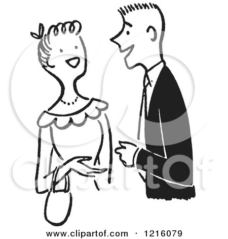 Cartoon of a Retro Talkative Young Couple Having a Conversation, in Black and White - Royalty Free Vector Clipart by Picsburg
