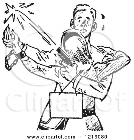 Vintage Clipart of a Retro Manacled Teenage Couple Dancing and Shooting a Gun in Black and White - Royalty Free Vector Illustration by Picsburg