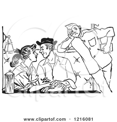 Vintage Clipart of a Retro Annoyed Chaperone Watching a Teenage Couple Swooning at a Diner in Black and White - Royalty Free Vector Illustration by Picsburg