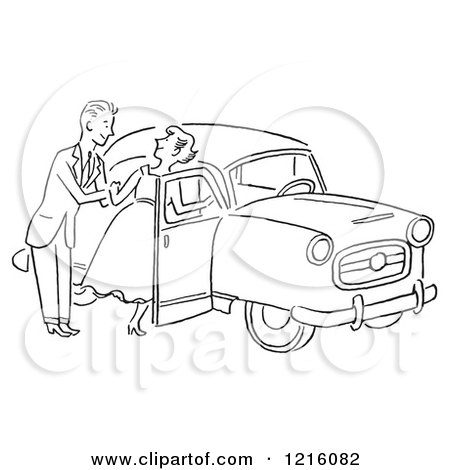 Cartoon of a Retro Polite Gentleman Helping a Lady into a Car, in Black and White - Royalty Free Vector Clipart by Picsburg