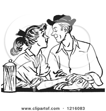 Vintage Clipart of a Retro Teenage Couple Gazing at a Diner in Black and White - Royalty Free Vector Illustration by Picsburg