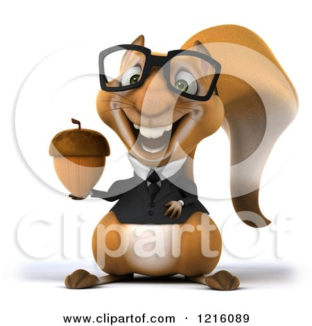 Clipart of a 3d Business Squirrel Wearing Glasses and Holding an Acorn - Royalty Free Vector Illustration by Julos
