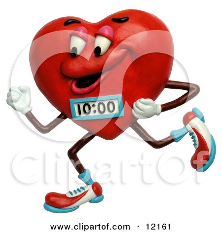 Clay Sculpture Clipart Jogging Heart With A Timer - Royalty Free 3d Illustration  by Amy Vangsgard